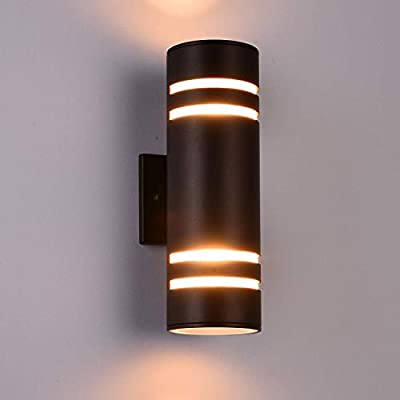 Outdoor Wall Light,Bling Exterior Lighting - ETL Listed,Aluminum Waterproof Wall Mount Cylinder Design - Up Down Light Fixture for Porch, Backyard and Patio [Brown]