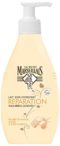 Le Petit Marseillais Lait Corps Hydratant, Réparation, au Beurre de Karité, Aloes et Cire d'Abeille, Pour Peaux Très Sèches, 250ml