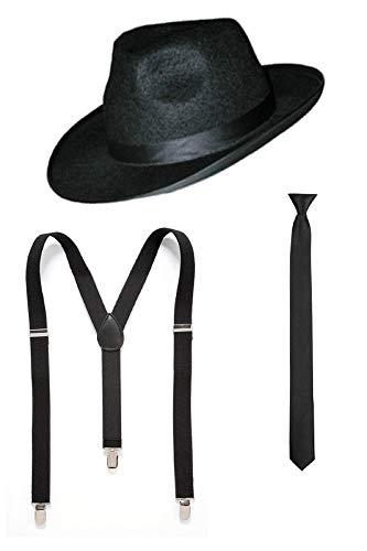 Marco Porta 20er 30er Jahre Gangster Outfit Kostüm Zubehör (Schwarz)