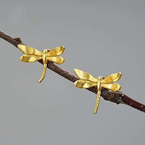 WULINCUN Plata Plateada Lindo Ligeramente Tornillo Pendientes de Columna de Oro y Plata Girl Gift