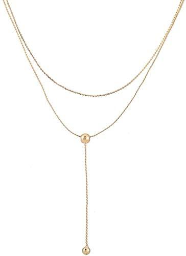 TYWZH Collar Collar de Guisantes Doble Cadena de clavícula Femenina Temperamento Accesorios para el Cuello Simple Banda para el Cuello Cadena para el Cuello K