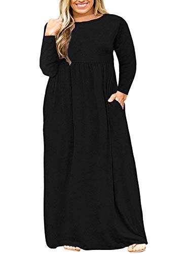 Nemidor Women Long Sleeve Loose Plain Casual Plus Size Long Maxi Dress with Pockets (Black+Sleeve, 20W) (Apparel)