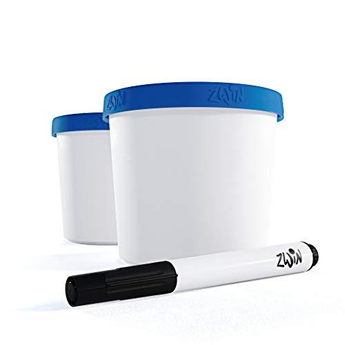 Zwin® 2er-Set Speiseeis Aufbewahrungsbehälter 350ml - Eisbehälter mit beschriftbarem Deckel - Wiederverwendbare Eisbehälter - BPA-frei - Ideal für selbst gemachtes EIS oder als Meal Prep Behälter