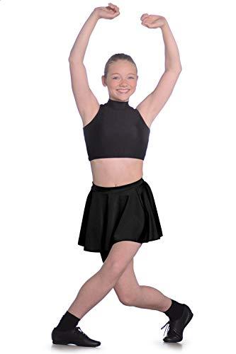 Dancewear Central Roch Valley LCSS Falda Circular Corta de Nailon y Licra para Mujer, niña Mujer, LCSSBM, Negro, 7-10 Años
