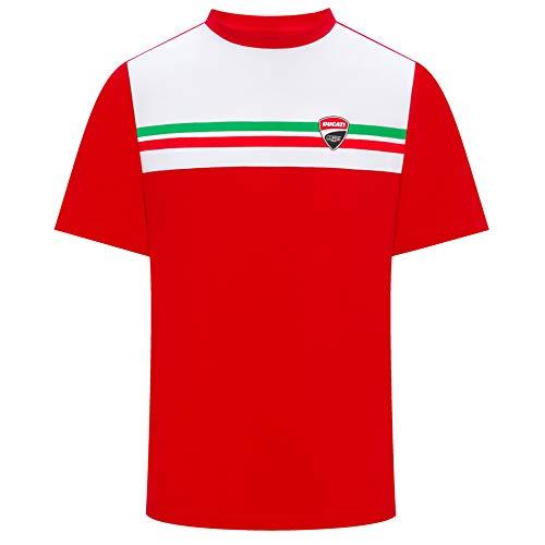 Ducati Corse 2019 Racing MotoGP Herren-T-Shirt, 100% Baumwolle, italienische Flagge, rot, Mens (M) 102cm/40 inch Chest