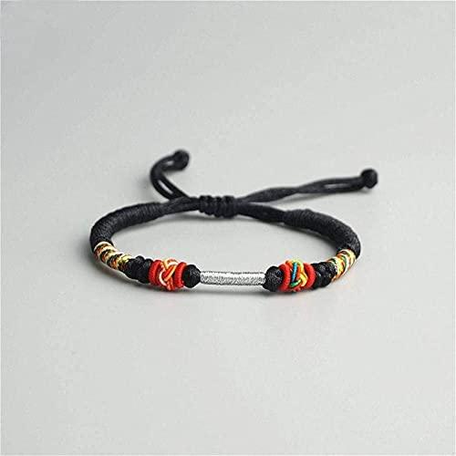 Pulsera china Pulsera hecha a mano Feng Shui Pulsera trenzada de las mujeres, cuerda trenzada brazalete retro tibetano budista negro pulseras ajustables de moda Forme el encanto afortunado para las mu