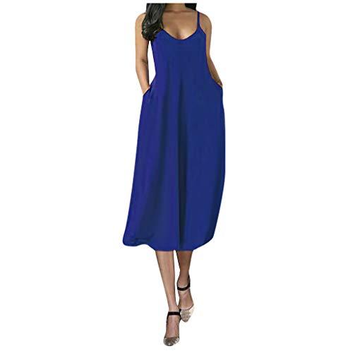 Robe Femme Ete Courte Grande Taille Tunique Femmes Casual Summer Plus Size Robes sans Manches Spaghetti Strap Dress Plain Swing Midi Dress with Pockets