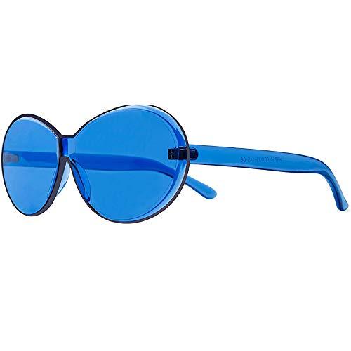 NXMRN Gafas De Sol Gafas De Sol Ovaladas Sin Montura Para Mujer, Gafas De Sol Transparentes Para Hombre, Gafas De Sol Vintage Uv400-azul
