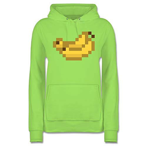 Karneval & Fasching - Pixel Bananen - Karneval Kostüm - S - Limonengrün - Geschenk - JH001F - Damen Hoodie und Kapuzenpullover für Frauen