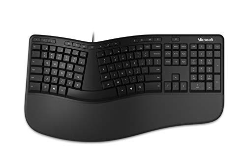 Microsoft Ergonomic Keyboard - Clavier filaire USB pour PC & ordinateurs portables - Ergonomique avec repose-poignets intégré - Clavier Français AZERTY - Noir (LXM-00005)