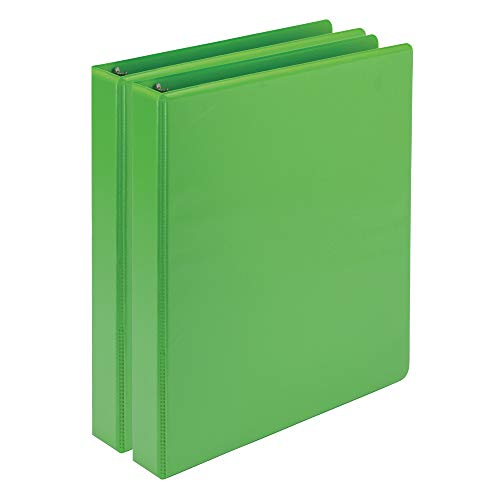 Samsill Earth's Choice Biobased Durable Fashion Color 3 Ring View Binder, 1 Inch Round Ring, Up to 25% Plant Based Plastic, USDA Certified Biobased, Lime Green, Value Two Pack