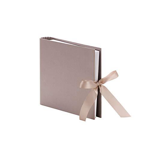 Rössler 13161147496 - Fotoringbuch mit 2 Ringen, 230x210 mm, 50 Seiten, mit Schleife, taupe, 1 Stück