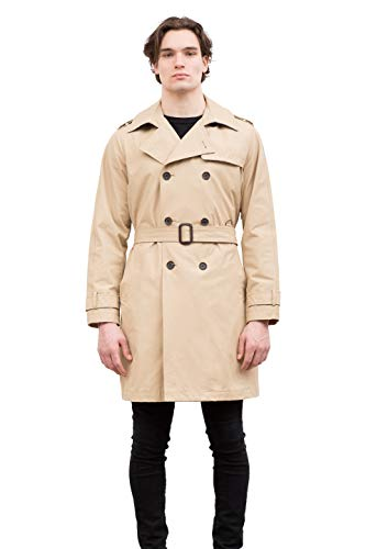 Vince Camuto Men's Belted Trench Coat, Beige, XL