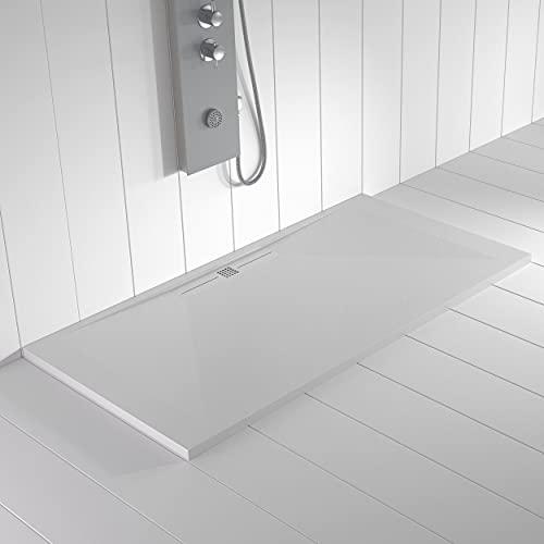 Shower Online Plato de ducha Resina WIDE - 70x140 - Textura Pizarra - Antideslizante - Todas las medidas disponibles - Incluye Rejilla Color Blanco y Sifón - Blanco RAL 9003