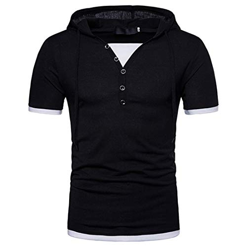 MENHG Men's Spring Summer Fake Two T-shirt Puls Size Hipster Hip Hop Lightweight Hoodies Drawstring Short Sleeve Button Down Patchwork Pure Color Polo Shirts Casual Classic Sweatshirt Hooded Tops