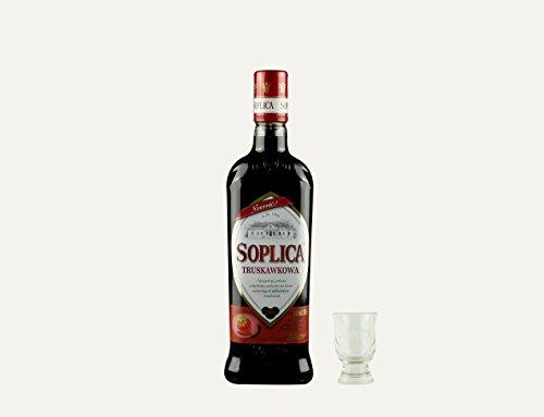 Soplica Erdbeere + Free Shot Glas | Polnischer Erdwodka/-likör | 30%, 0,5 Liter
