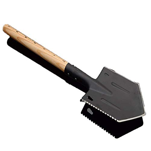 WBB Handwerkzeug Schaufel schwarz tragbare Kompakt Tactical Spaten Multi-Purpose Schaufel Traditioneller Edelstahl Border-Spaten mit Holzgriff 0507