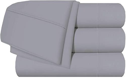 Bettwäsche-Set, 4-teilig, Fadenzahl 400, 100 % Baumwolle, sehr weich, passend für Matratzen mit einer Tiefe von 25,4 - 45,7 cm Modern Split California Size-5PCs Hellgrau massiv