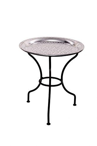 Marokkanischer mediterraner Tisch Beistelltisch Tabletttisch Amanalei - Silberfarbig, 40cm