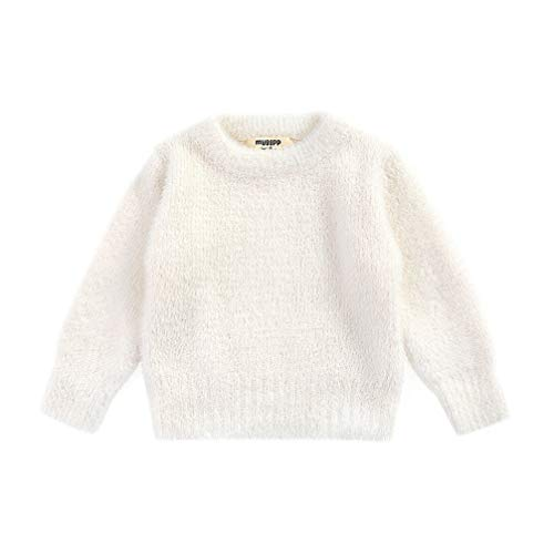 jsadfojas Bebé Niñas Niños Caliente Suéter De Punto De Color Sólido Manga Larga Cuello Redondo Jersey Otoño Invierno Ropa Caliente