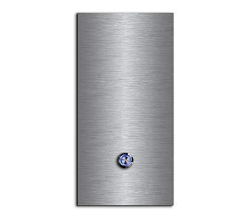 CHRISCK Design - roestvrij stalen deurbel Basic 13x26 cm rechthoekig met een bel-knop/LED-verlichting en mooie decoratieplaten van acrylglas naamplaat/belplaat