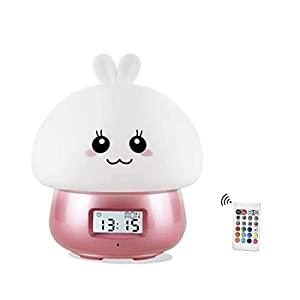 Silicone Rabbit Night Light Clock for Kids, Multicolor Alarm Clock Cute Nursery Nightlights USB Rechargeable Snooze Touch Table Night Light Lamp for Children Bedroom