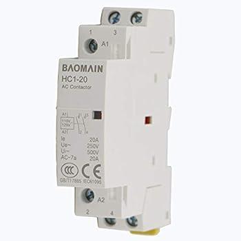 Baomain AC Contactor HC1-20 110V 20A 2 Pole Universal Circuit Control DIN Rail Mount