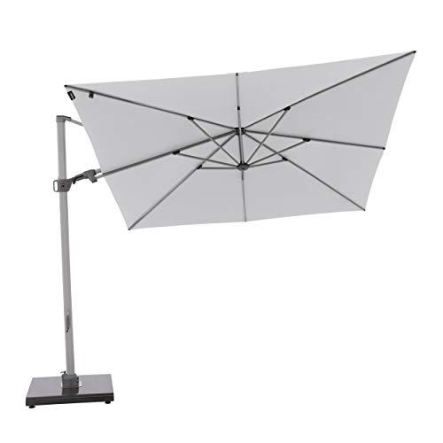 Knirps Sonnenschirm PENDULAR - Quadratischer Premium Ampelschirm - Stilvoll und hochwertig - Starker UV-Schutz - 275x275 cm - Hellgrau