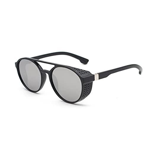 CandyT UV400 Lente de Filtro Gafas de Sol Gafas de Sol Estilo Punk y Retro para Hombres Gafas de Sol Ligeras para Todo fósforo (Negro Blanco Plateado 140 * 50 * 131 mm)