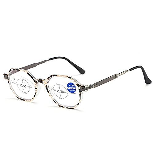 CHENPENG Gafas De Lectura para Mujeres Y Hombres, Lectores Elegantes con Bisagras De Resorte, Gafas De Lectura De Moda Anti-Luz Azul, Filtro De Rayos UV/Bloqueo De Luz Azul Deslumbrante,Negro,2.0X