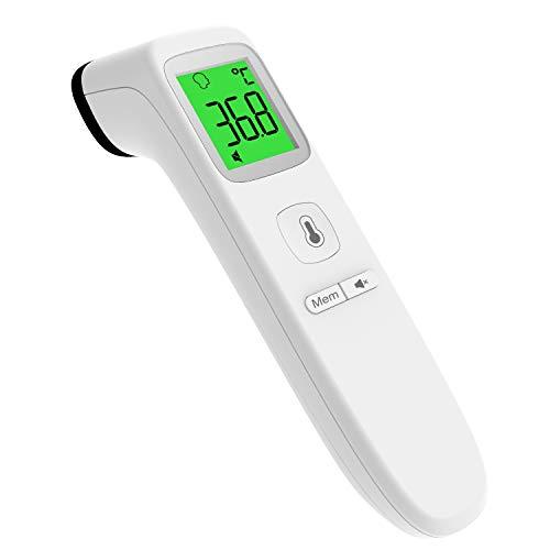 Digital Kontaktlos Thermometer, UNTIRE Infrarot-Stirnthermometer mit Aufbewahrungs und Fieberalarm, Multifunktionales Handthermometer, Für Baby Kids Erwachsene