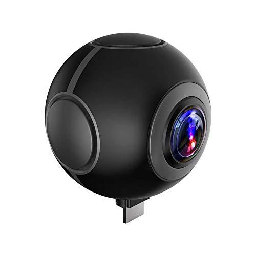 Luckiner Cámara panorámica de 360 grados de doble lente móvil VR deporte al aire libre Cámara de acción gran angular Full HD 1080P videocámara negro