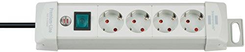 Brennenstuhl Premium-Line Stekkerdoos, 10-voudig (stekkerdoos met schakelaar- 45° hoek van de geaarde stekkerdozen) 4-voudig lichtgrijs