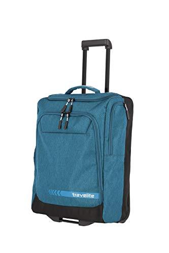 travelite Trolley Reisetasche Größe S Handgepäck, Gepäck Serie KICK OFF: Praktische Reisetasche mit Rollen für Urlaub und Sport, 006909-22, 55 cm, 44 Liter, petrol