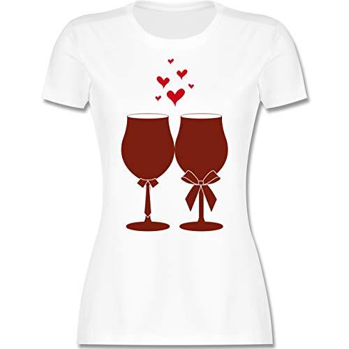 Symbole - Weingläser Wein - XXL - Weiß - Shirt Wein - L191 - Tailliertes Tshirt für Damen und Frauen T-Shirt