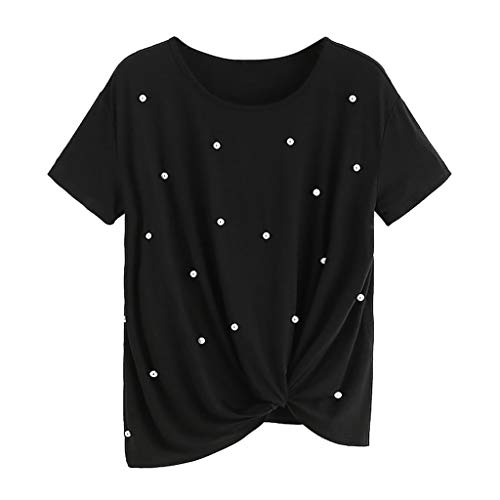 SEWORLD Camiseta de Perlas con Cuentas de Manga Corta para Mujer