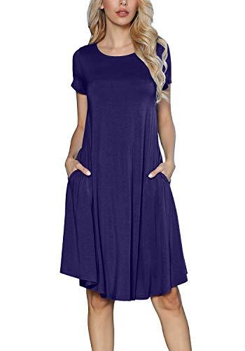 levaca Womens Summer Short Sleeve Draped Casual Swing Party Dress Deep Blue S