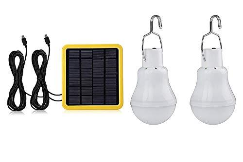 GreeSuit Solarbetriebene LED Glühbirne Tragbare Laterne Lampe Scheinwerfer mit Sonnenkollektor für Outdoor Wandern Camping Zelt Angeln Beleuchtung (2 Lampe)