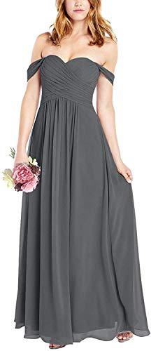 HUINI Ballkleider Lang A-Linie Hochzeitskleid Damen Brautjungfernkleider Schulterfrei Abendkleid Festkleider Stahlgrau 36
