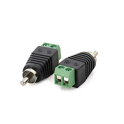 AILTECK RCA Cable Audio Adapter, Phono Speaker Wire to Male RCA Connector Adapter Plug, AV Screw Terminal solderless Adapter(2-Pack)