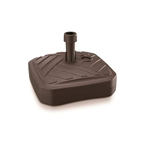 Prosperplast Umbrella Base de sombrilla de Polietileno Cuadrada con diseño 39 x 39 x 13 cm en Color Chocolate, Marrón Rayas