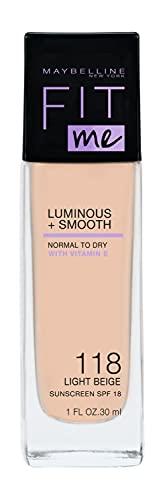Maybelline New York Make Up, Fit Me! Foundation mit LSF18, Für makellose Haut, Alle Hauttypen, Nr. 118 Light Beige, 30 ml