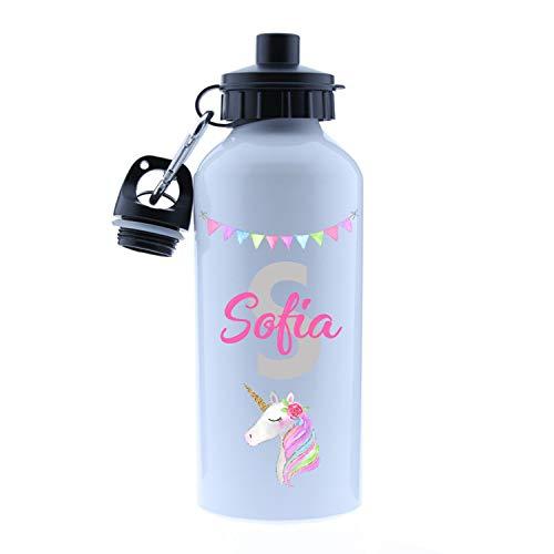 Kembilove Cantimplora Infantil de Unicornio Personalizada – Botella de Aluminio Personalizada Unicornio con el Nombre del Niño o Niña – Capacidad 500 ml peques – Cantimplora Unicornio
