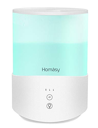 Homasy Cool Mist Humidifier Diffuser, 2.5L Essential Oil Diffuser with 7-Color Mood Lights, Top Fill Humidifier for Bedroom, Baby Humidifier with Adjustable Mist Output, Sleep Mode, Auto Shut Off