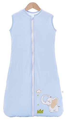 Chilsuessy Schlafsack Baby 2.5 Tog Winterschlafsack Babyschlafsack aus reine Baumwolle Winter Schlafanzug ohne Ärmel 70-130cm für Neugeborene und Kinder, Blauer Elefant, 130cm/Baby Höhe 120-140cm
