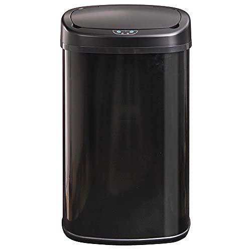 Poubelle de cuisine automatique 68L MAJESTIC grande capacité Noir mat en acier INOX avec cerclage