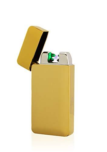 TESLA Lighter TESLA Lighter T10 Lichtbogen-Feuerzeug mit Photosensor, elektronisches USB Feuerzeug, Double-Arc Lighter, wiederaufladbar Gold Gold