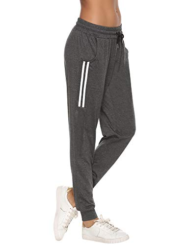 Aibrou Damen Strick Baumwolle Sporthose Sweathose mit Bündchen Traininghose Jogging Hose Slim Fit Dunkelgrau S