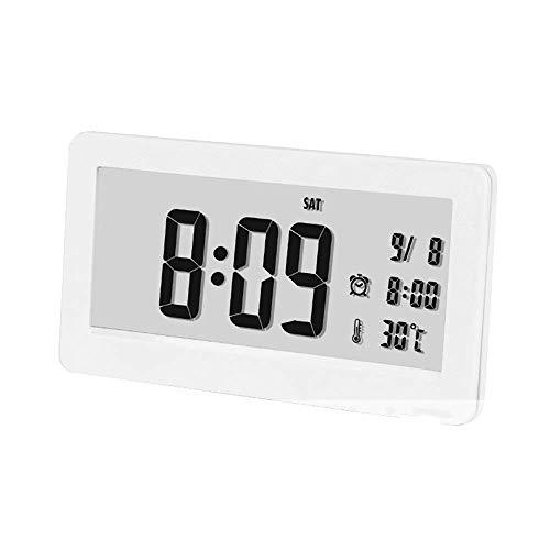 AYDQC Meng cabecera Despertador, Reloj Ajustable Reloj LED el Despertador Pantalla Inteligente silencioso Despertador con Repetir, Fecha, Pilas (Color: Blanco, Tamaño: 14.8X2X8.7cm) fengong