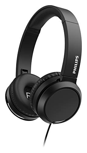 Philips Cuffie Sovrauricolari On Ear H4105BK/00 con Microfono (Telecomando in Linea, Design Pieghevole, Connettore Angolato, Fascia Imbottita, Isolamento Audio) Nero - Modello 2020/2021